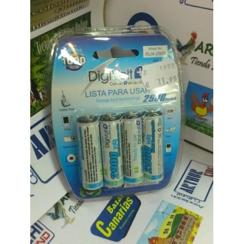 Blister 4 pilas recargables aa digivolt 2900 ma bazar for Pilas recargables aa